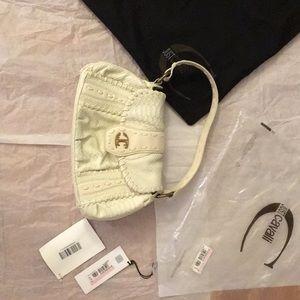 Authentic Just Cavalli white baguette shoulder bag